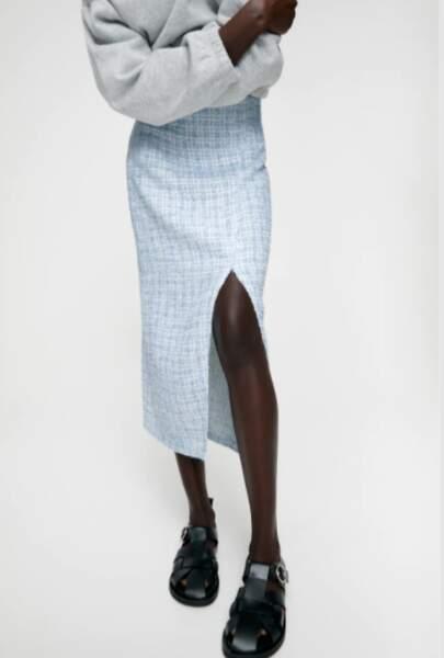 Jupe mi-longue fendue, Zara, 39,95€