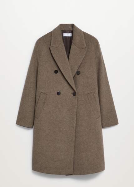 Manteau en laine boutonné, Mango, 39,99€ au lieu de 79,99€