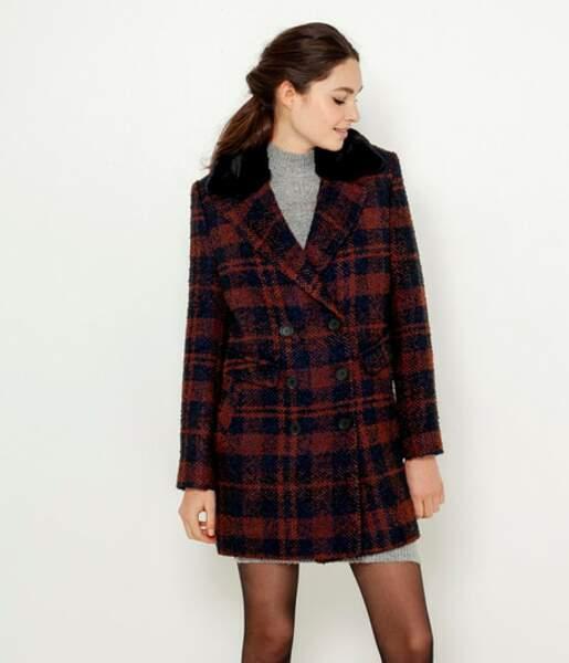 Manteau caban carreaux, Camaïeu, actuellement à 44,99€