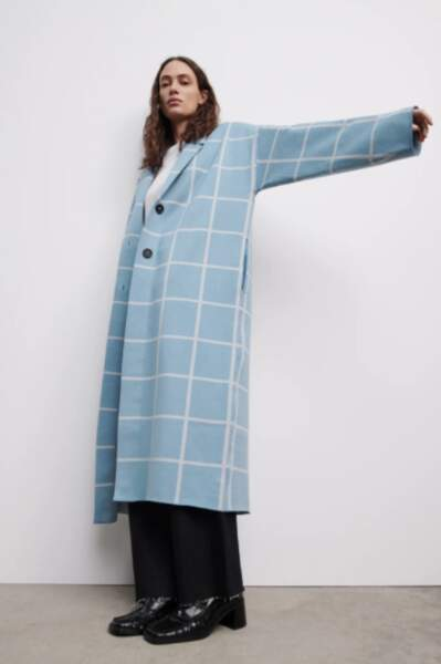 Manteau en maille à carreaux, Zara, 69,95€