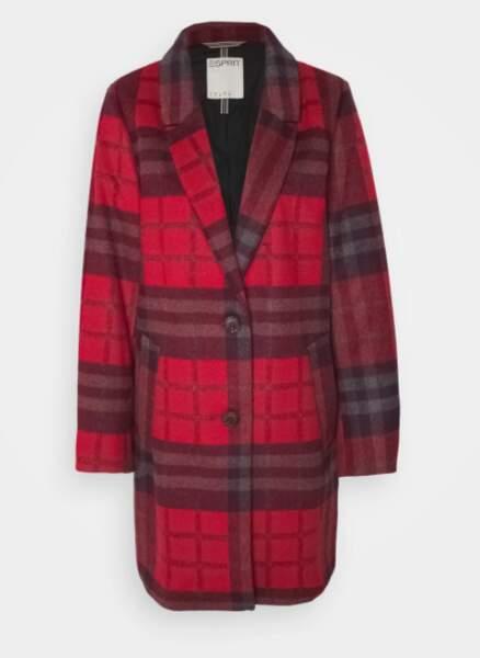 Manteau à carreaux rouge, Esprit, actuellement à 62,99€ sur Zalando
