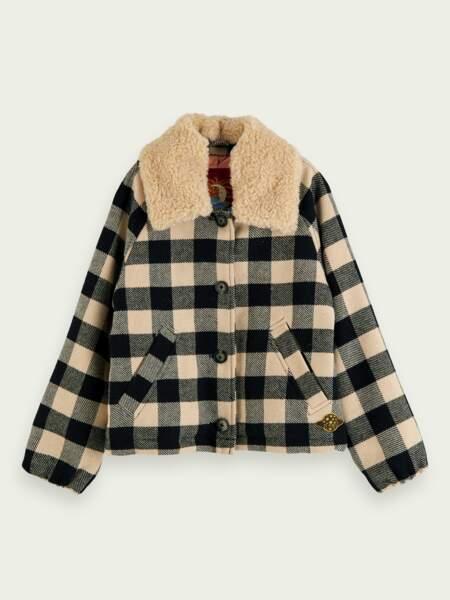 Manteau à carreaux avec col amovible en tissu peluche, scotch &soda, actuellement à 69€