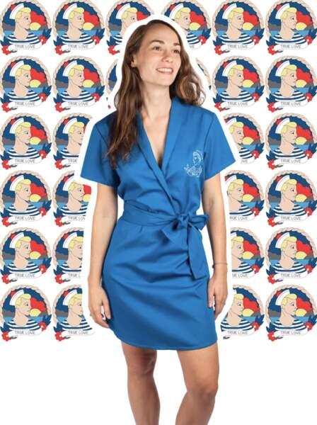 Robe cache cœur en gabardine coton bleu canard, Tricote moi un tattoo, 99 €