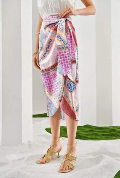 Jupe foulard avec noeud, MOTF, 22,99€