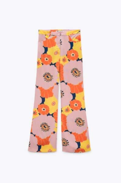 Pantalon fluide à imprimé fleurs, Zara, 39,95€