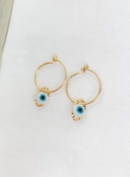 """Boucles d'oreilles créoles """"Baby Eye"""", Alexiane Bijoux, 39€"""