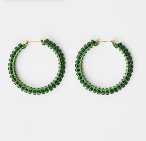 Créoles à perles vertes, Maje, 55€