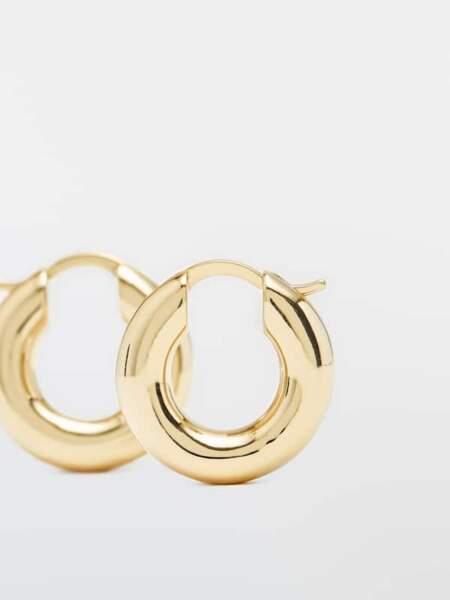 Petites créoles épaisses en plaqué or, Massimo Dutti, 29,95€