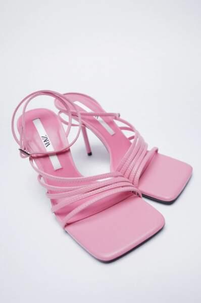 Sandales à talons roses, Zara, 39,95 €