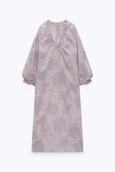 Robe mi-longue imprimé floral, Zara, 39,95 €