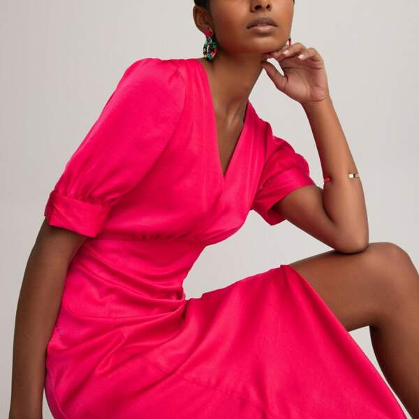 Robe longue encolure V manches courtes, La Redoute Collections, 49,99€