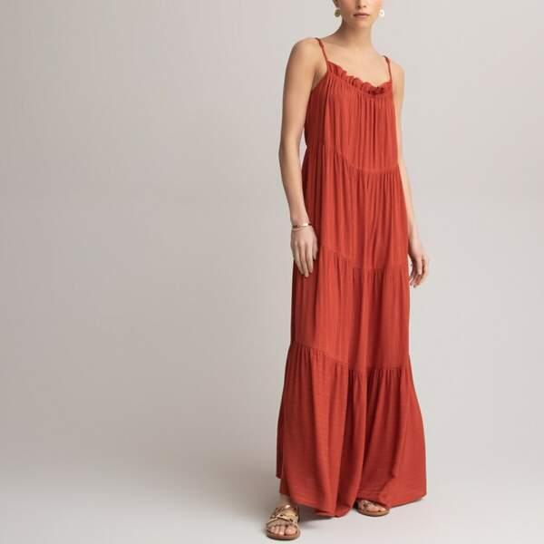 Robe maxi longue évasée, à fines bretelles, La Redoute Collections, 59,99€