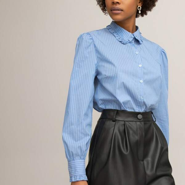 Chemise col claudine manches longues rayée, La Redoute Collections, 35,99€