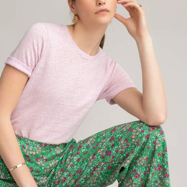 Tee-shirt en lin, fabriqué en Europe, La Redoute Collections, 24,99 €