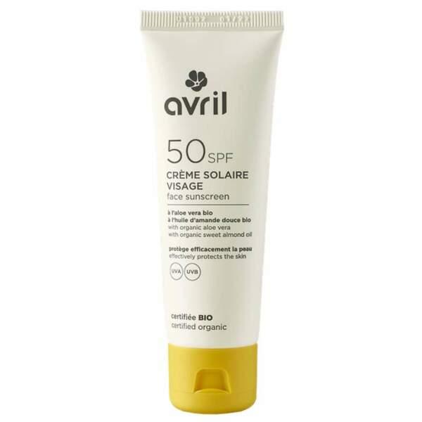 Crème solaire visage SPF 30, Avril, 11 € les 50 mL