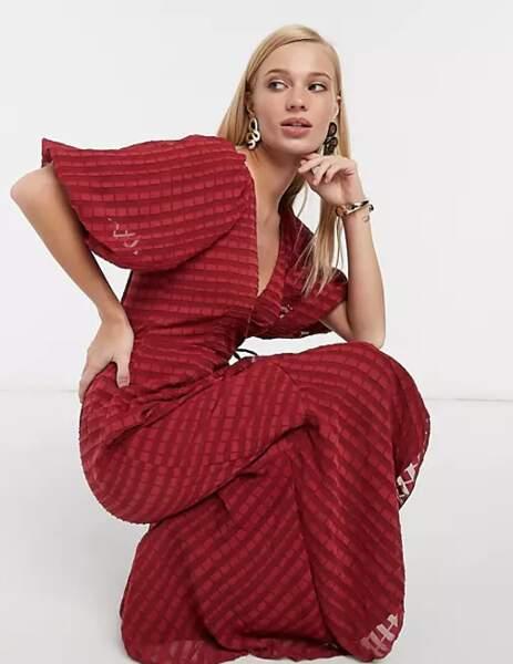 Robe longue cache-cœur à rayures, Asos Design, 38,35€