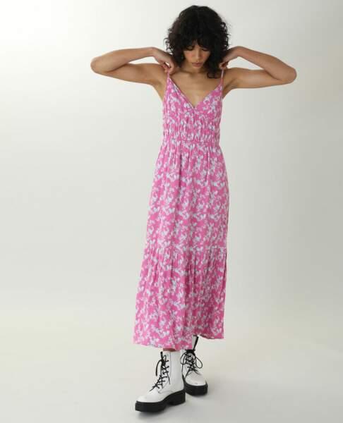 Robe longue fleurie rose, Pimkie, 25,99€