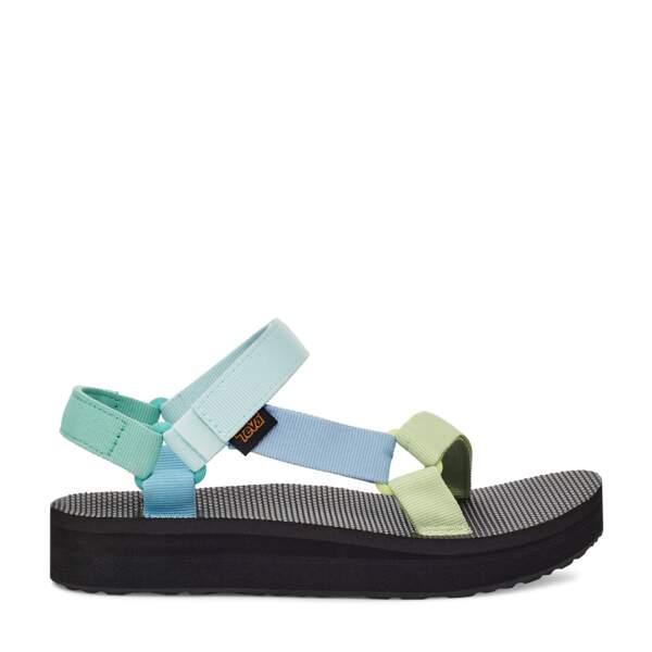 Sandales bleues et vertes, Teva, 65 €