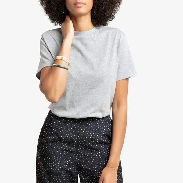 T-shirt col rond coupe boyfriend, La Redoute Collections, 12,99€