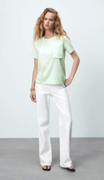 T-shirt avec volant sur la poche, Zara, 5,95€