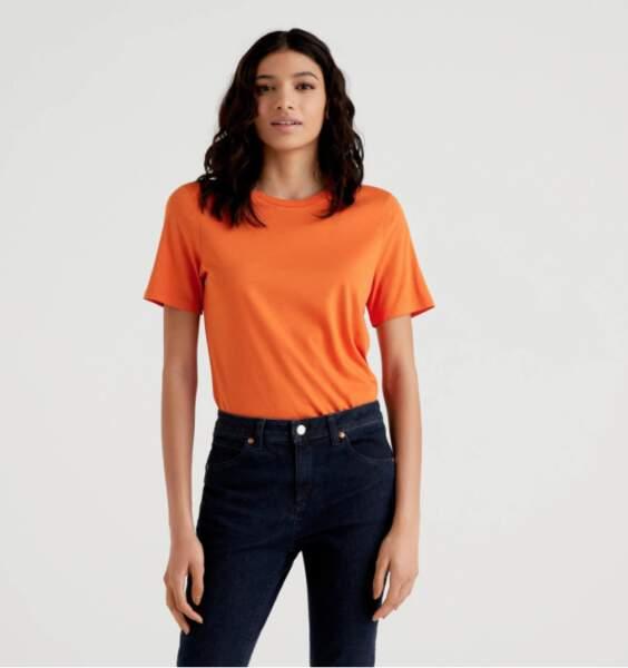 T-shirt col rond à manches, Benetton, 17,95€