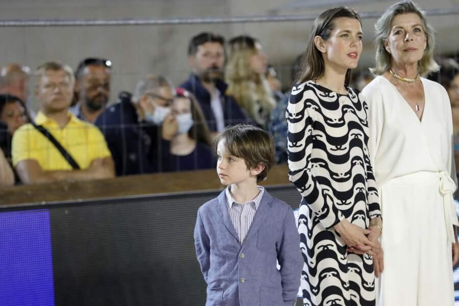 La princesse Caroline de Monaco, Charlotte Casiraghi et son fils Raphaël Elmaleh ce 3 juillet