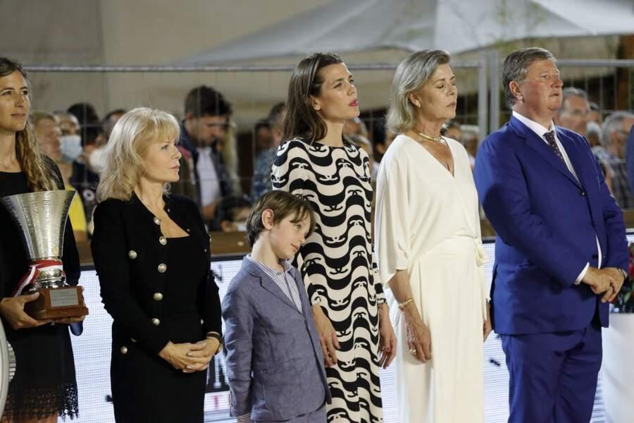 La princesse Caroline de Hanovre avec sa fille, Charlotte Casiraghi et son petit-fils Raphaël Elmaleh