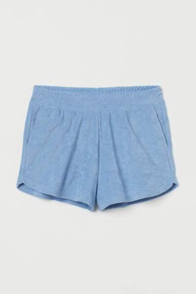 Short en éponge bleu clair, H&M, actuellement à 6,99€