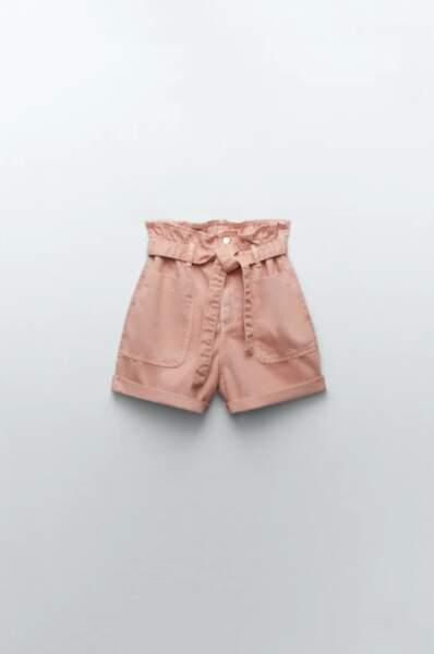 Short baggy paperbag avec ceinture, Zara, 19,95
