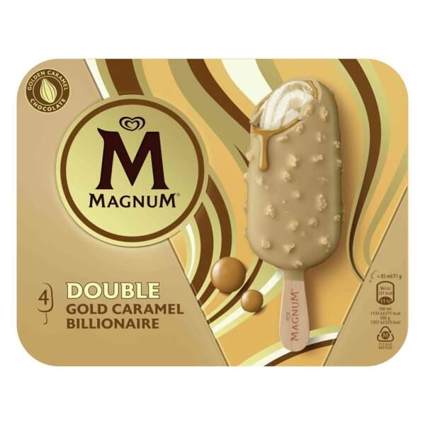 Double Gold Caramel Billionaire, entre 2,99€ et 4,09€ la boîte de 4, Magnum
