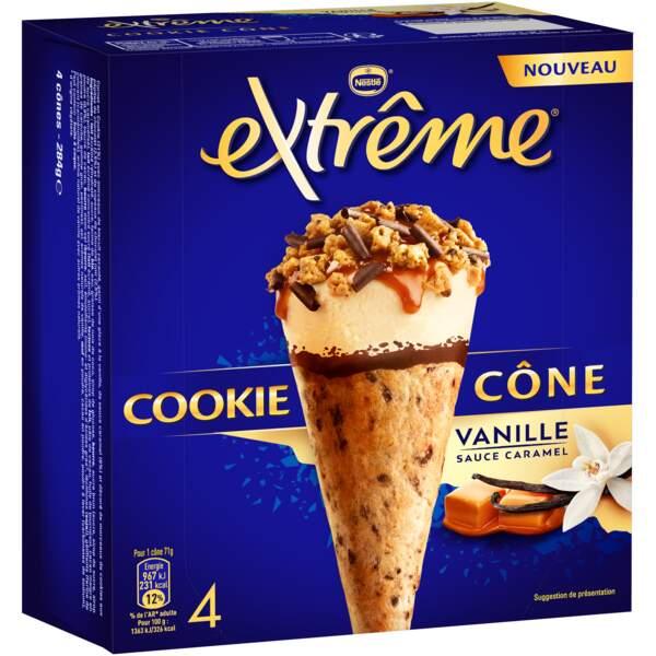 Cookie cône à la vanille et sauce caramel, 4,50€ la boîte de 4, Extrême