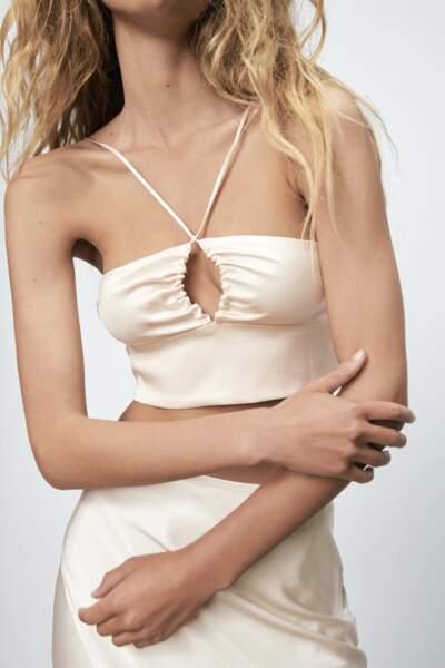 Crop top satiné cut out, Zara, 17,95€