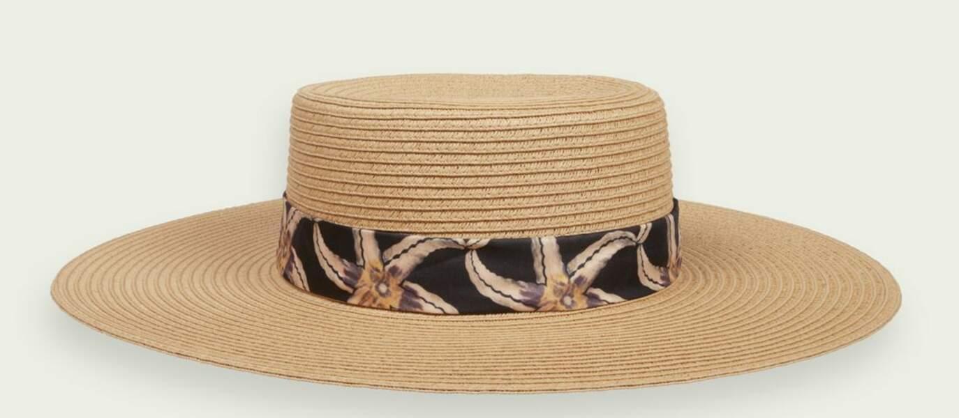 Chapeau en paille de papier avec ruban imprimé, Scotch & Soda, 34,50€