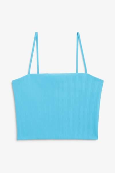 Crop top bleu turquoise, Monki, 10 €.