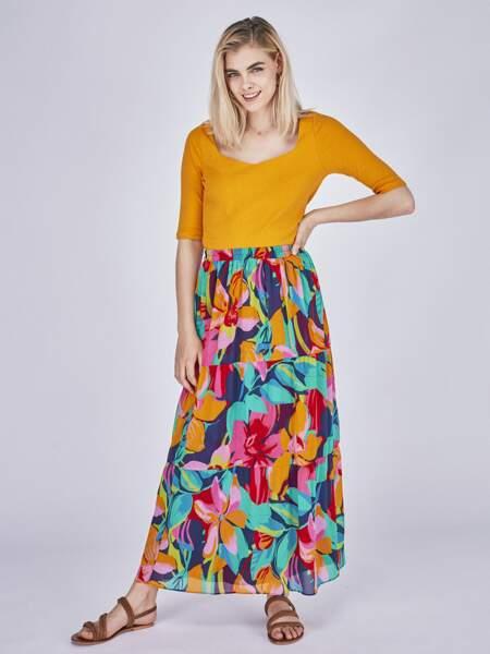 Jupe longue imprimé floral, Naf Naf, 64,99€