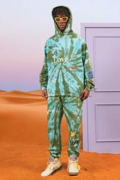 Sweat à capuche tie-dye et pantalon de survêtement, BoohoonMan, 45€
