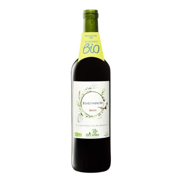 Merlot 2020 Ethic Drinks Biodiversité vin de France rouge,  6,95€ chez Monoprix.