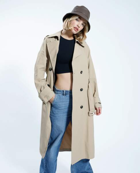 Trench long beige, Pimkie, 49,99€