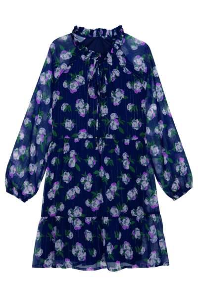 Robe courte fleurie, Tissaia de E. Leclerc, 16,95 €