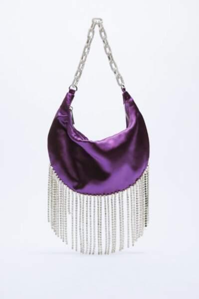 Sac porté épaule en satin à strass, Zara, 49,95€